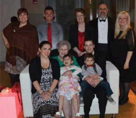 Seated: Daughter Amanda Shoup, mother Nancy Myers, granddaughter Isla Shoup, grandson Sladen Shoup, and son-in-law Scott Shoup. Standing: Daughter Jennifer Myers, great-nephew Chris Clark, sister Deborah Myers, Dr. Myers, and wife Joyce Myers.
